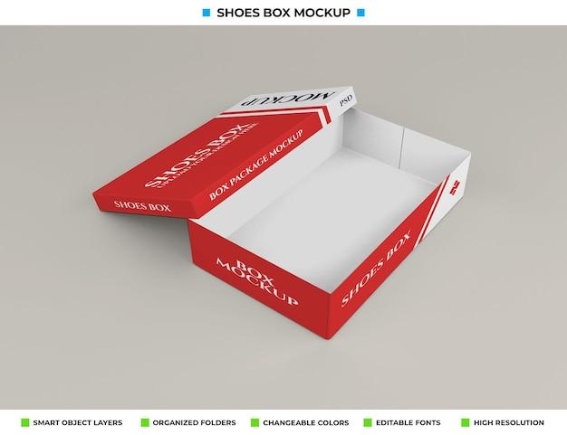 Realistische kartonnen schoenen doos mockup ontwerp