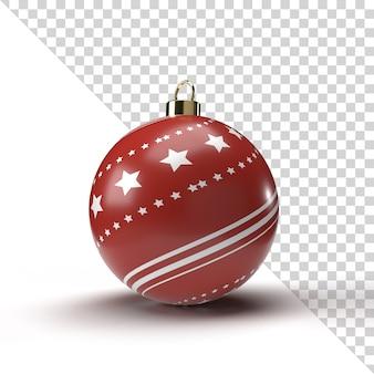 Realistische kerstbal render met goud en rood patroon geïsoleerd