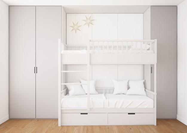 Realistische kinderachtige slaapkamer met een stapelbed