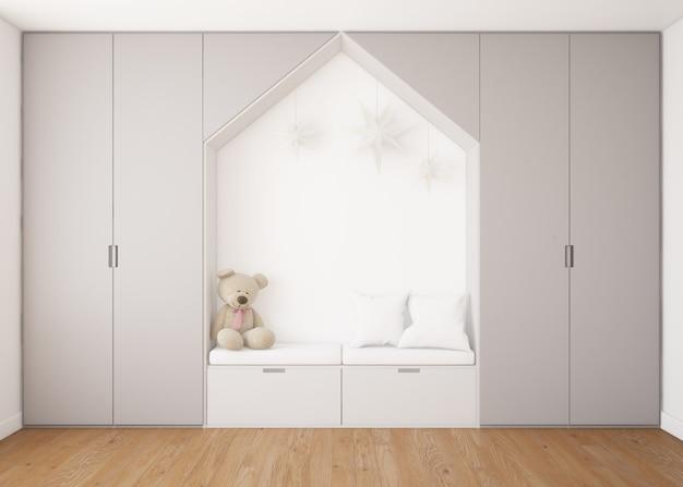 Realistische kinderachtige slaapkamer met kledingkast en een bed met teddybeer