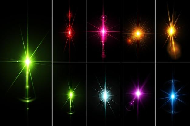 Realistische kleurrijke lens flares set isoleren