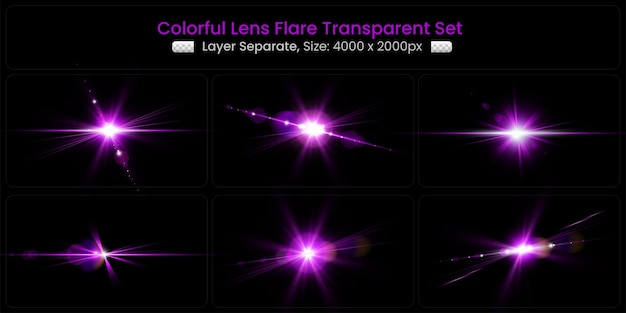 Realistische kleurrijke lensflare met abstracte lensverlichtingscollectie