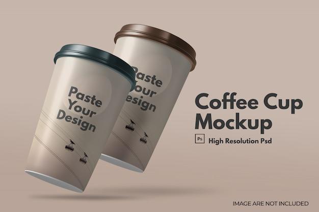 Realistische koffiekop mockup met deksels