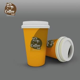 Realistische koffiekopjes mockup