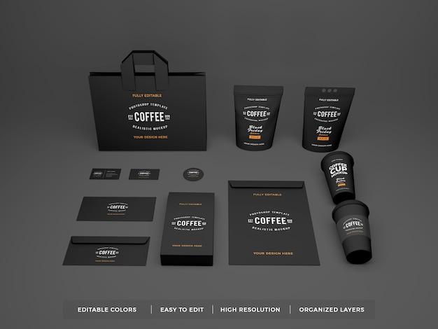 Realistische koffiemerkidentiteit en briefpapiermodel