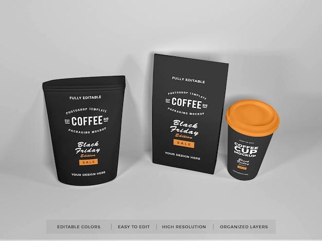 Realistische koffieverpakkingsset mockup