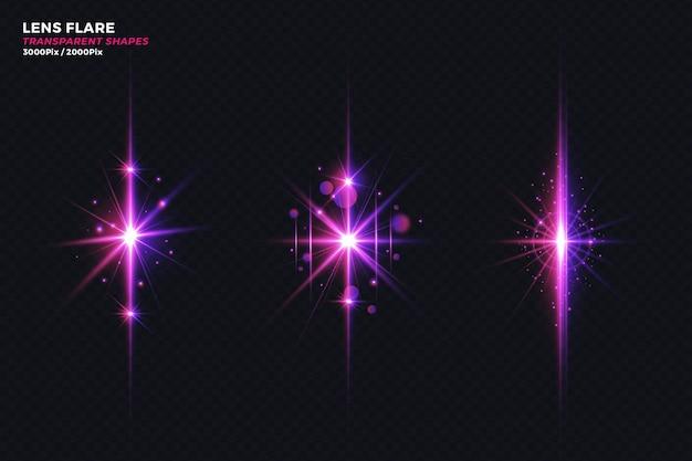 Realistische krachten crashen licht lens flare transparant effect set