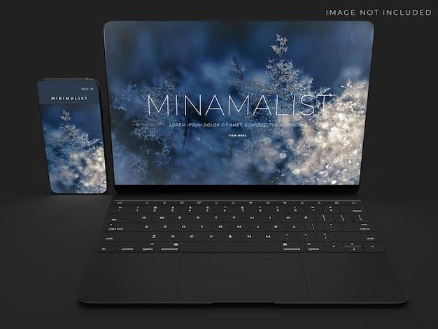 Realistische laptop- en telefoonmodelscène voor merkidentiteitsontwerp