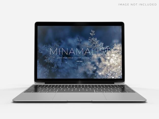 Realistische laptopmodelscène voor merkidentiteitsontwerp