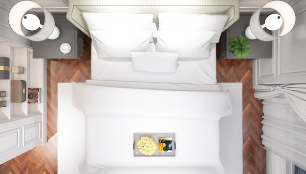 Realistische lichte moderne tweepersoonsslaapkamer met meubels op bovenaanzicht
