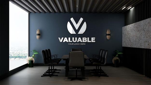 Realistische logo-mockup in de kantoorvergaderruimte met luxe designinterieur