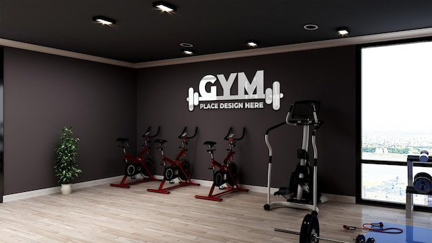 Realistische logo-mockup in moderne fitness- en gymruimte
