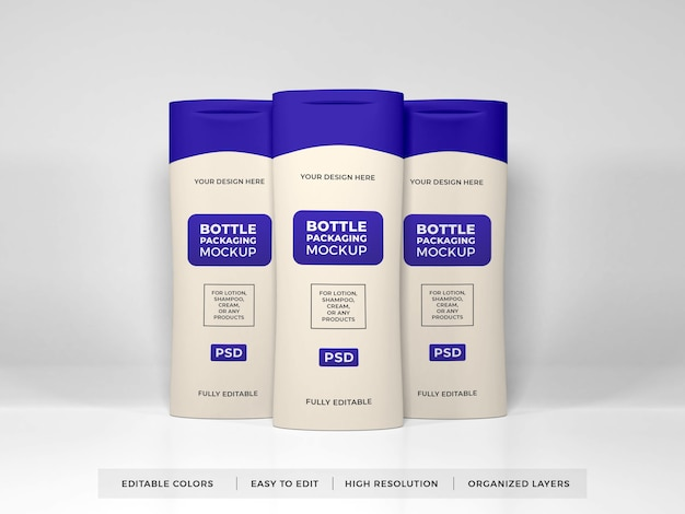 Realistische lotioncrème en shampoo-flesmodel