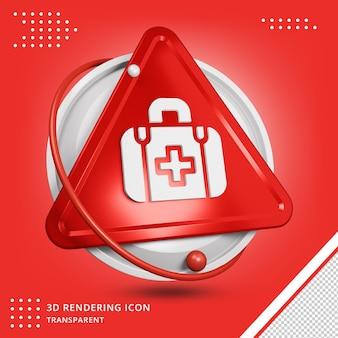 Realistische medische kit pictogram in 3d-rendering geïsoleerd
