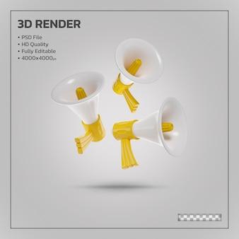 Realistische megafoon gele realistische 3d-rendering geïsoleerd