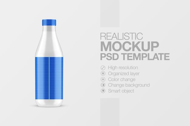 Realistische melk plastic fles mockup