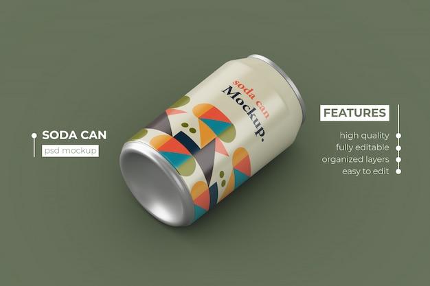 Realistische metalen drank kan mockups ontwerpen