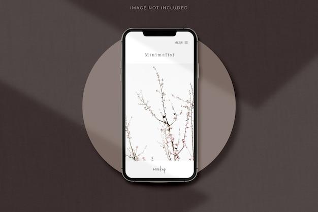 Realistische mobiele smartphone mockup scene creator met schaduw-overlay.template voor branding identiteit wereldwijde zakelijke website design app