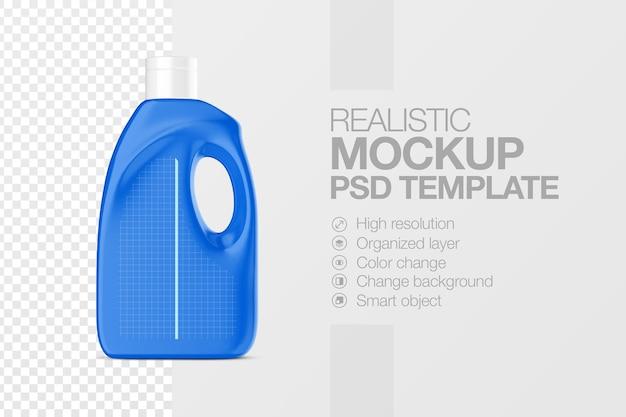 Realistische mock-up sjabloon voor vloeibaar wasmiddel voor plastic flessen
