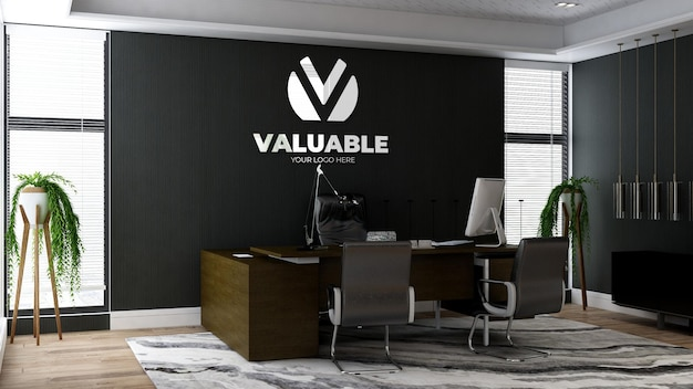 Realistische mockup met 3d-bedrijfslogo in kantoormanagerruimte met luxe designinterieur