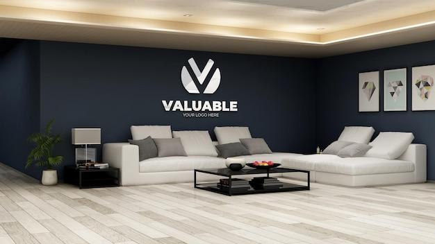 Realistische mockup met bedrijfslogo in de wachtkamer van de kantoorlobby