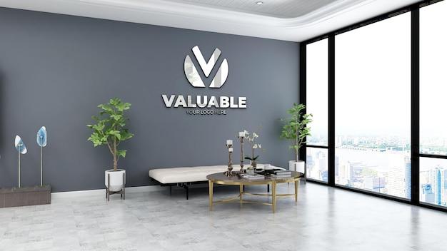 Realistische mockup met bedrijfsmuurlogo in de wachtkamer van de kantoorlobby met grijze muur