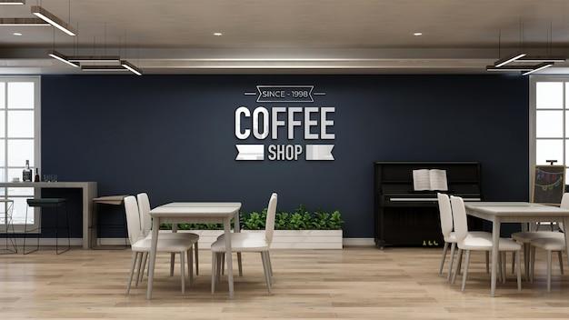 Realistische mockup met muurlogo in de coffeeshop of het restaurant met marinemuur