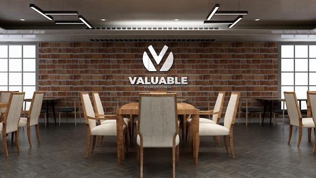 Realistische mockup met restaurantlogo met bakstenen muur
