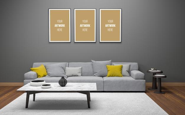 Realistische mockup van 3d weergegeven van interieur moderne woonkamer