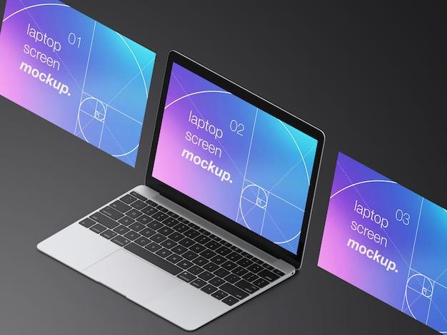 Realistische mockup voor macbook-laptopschermen met hoge hoek