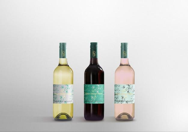 Realistische mockups voor wijnflessen