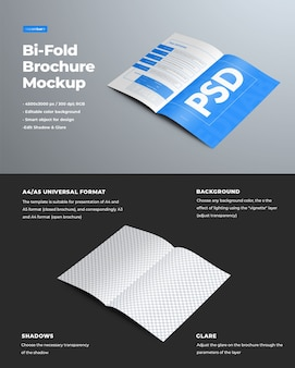 Realistische modellen van bi-fold designbrochures