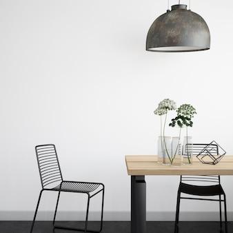 Realistische moderne lichte eetkamer met houten tafel en stoelen