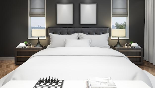 Realistische moderne tweepersoonskamer met meubels en een frame