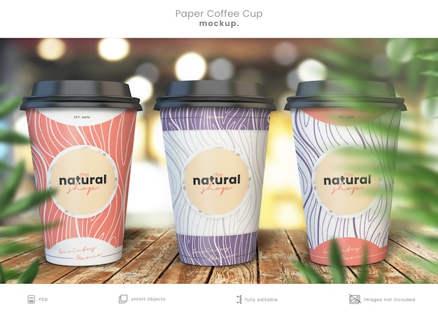 Realistische papieren koffiekopje mockup-collectie