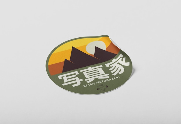Realistische papieren sticker mockup-sjabloon Premium Psd