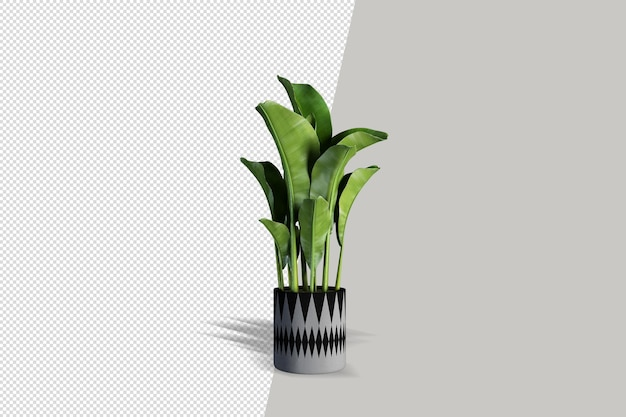 Realistische plant in 3d-weergave