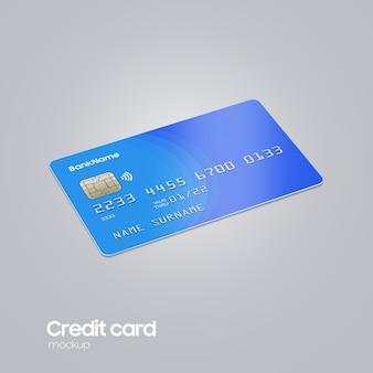 Realistische plastic kaart bij de hand mockup