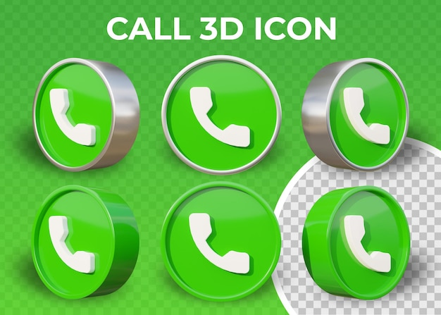 Realistische platte oproep geïsoleerde 3d-pictogram