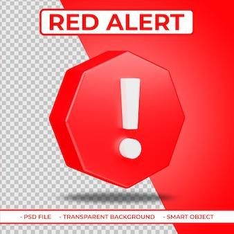 Realistische platte rode waarschuwing of rapport 3d pictogram geïsoleerd