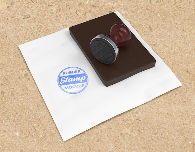 Realistische rubberen stempel of stempelkussen logo mockup ontwerp