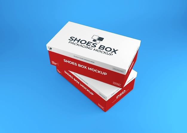 Realistische schoenendoos verpakking mockup
