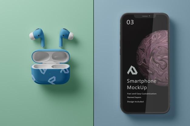 Realistische smartphone met mockup voor luchtpods