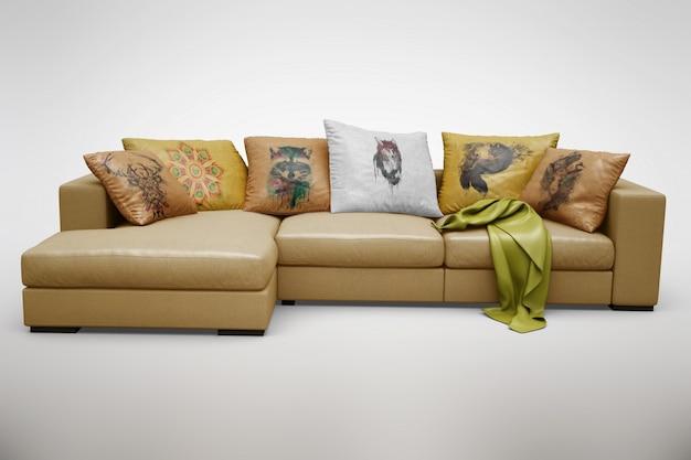 Realistische sofa opschudden
