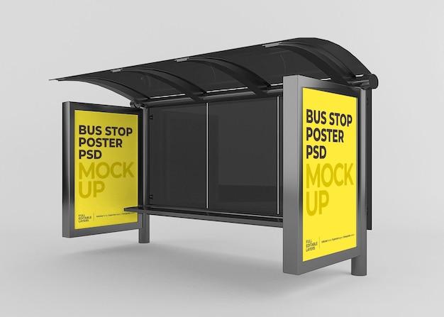 Realistische stadsbushalte billboard mockup