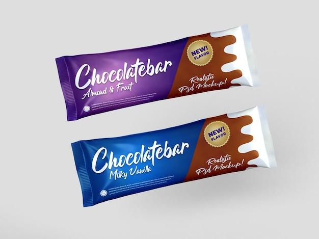 Realistische twee chocoladereep snack glanzende verpakking mockup