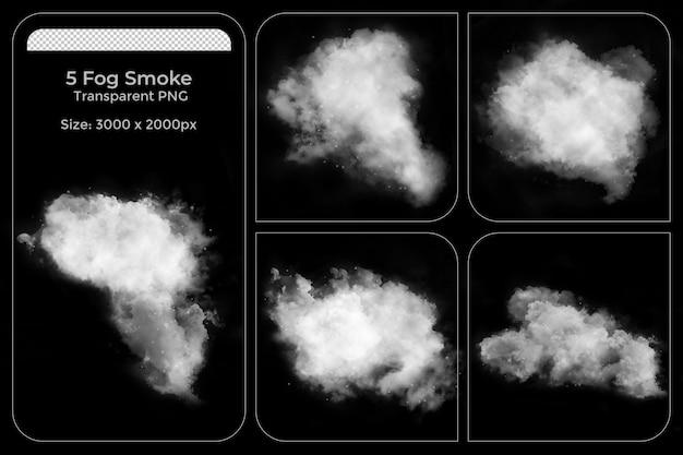 Realistische verschillende vormen van mist transparante set
