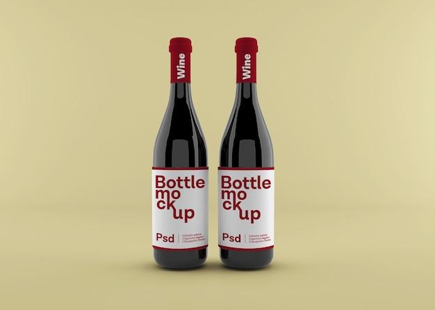 Realistische wijnfles met etiketmodel