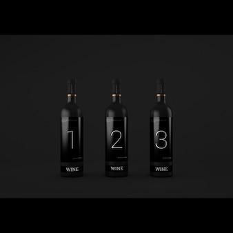 Realistische wijnflessen presentatie