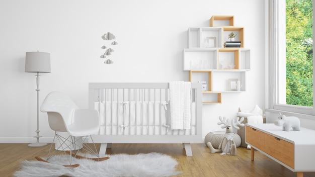 Realistische witte baby slaapkamer met een raam en een wieg
